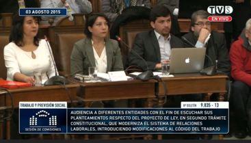 Claudia Muñoz de Aguas Andinas y Carmen Miranda de Entel, expusieron ante la Comisión de Trabajo del Senado para debatir sobre la Reforma Laboral